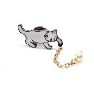 Cat and Pearl Tassel Enamel Pin Badge
